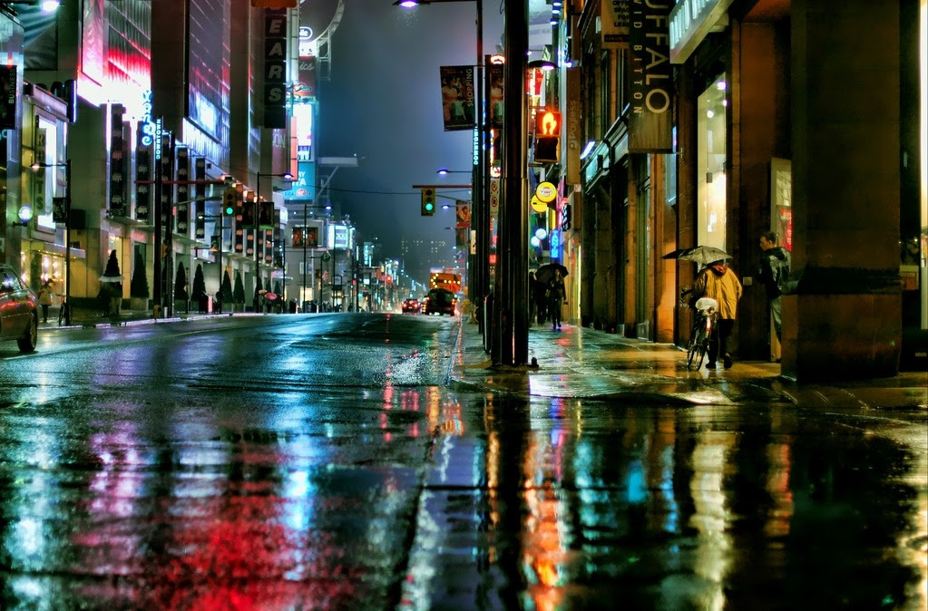 Night City Street Rain Raining City Street at Night