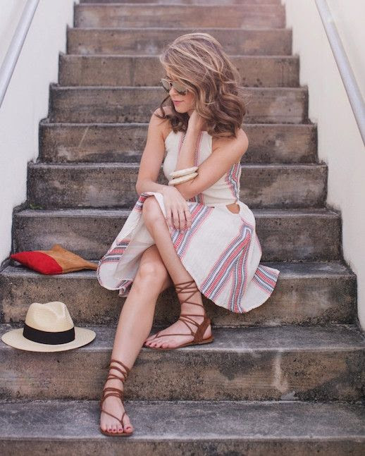 Le Fashion Blog Tularosa Dress Clutch Bag Gladiator Sandals Straw Hat Via The Style Bungalow