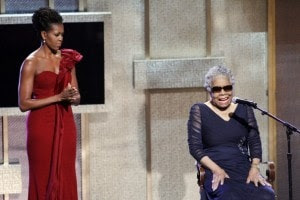First Lady Michelle Obama and Maya Angelou in 2012 (First lady Michelle Obama listens while BET honoree Maya Angelou speaks… (Jose Luis Magana/AP )