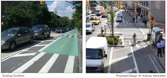 DOT wants to make a little more room for Prospect Park West pedestrians by installing raised medians, like on Eighth Avenue, but their data show that the basic redesign worked. Image: NYC DOT.