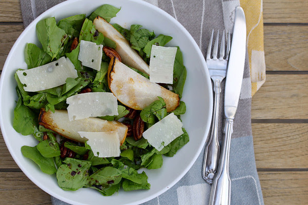 Roasted Pear, Parmesan, and Spiced Pecan Salad