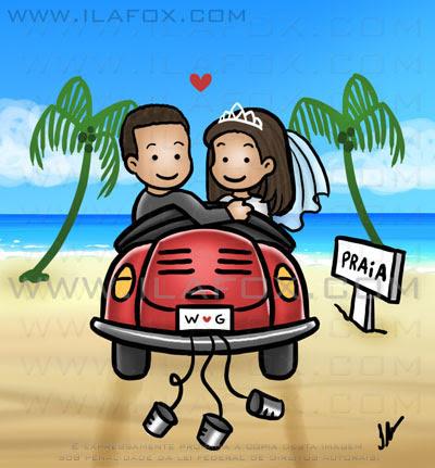 Caricatura fofinha, casal, noivos, de fusca, indo pra praia, casalzinho Willams e Giselle, caricatura para casamento, by ila fox