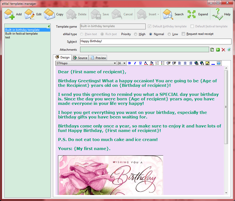 Email Birthday Wishes Template For Greetings Automatic Seasons And Send Screenshots