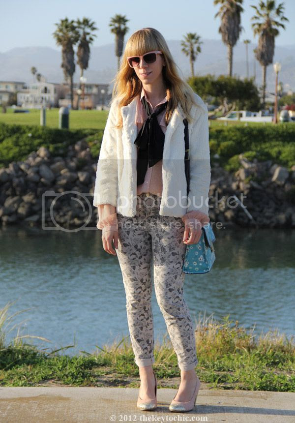 Jason Wu for Target blush dot blouse, Jason Wu for Target floral flap handbag, J Brand jeans in sugar cane, Topshop Jamaica glitter pumps, southern California street style, Los Angeles fashion blogger