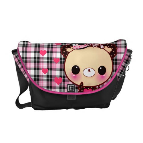 Cute bear with balloons on pink and black plaid rickshaw_messengerbag