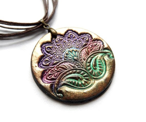 Eastern flower pendant, polymer clay necklace, paisley jewelry. $19.00, via Etsy.