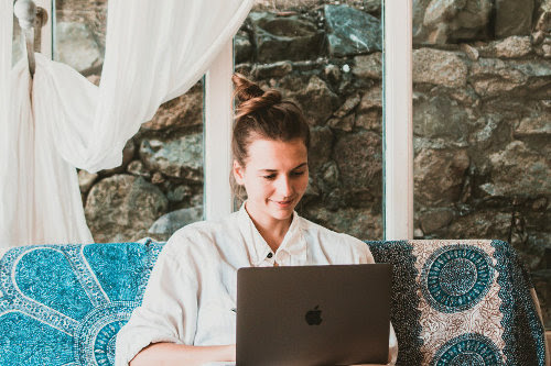 Businesswoman remote working from home