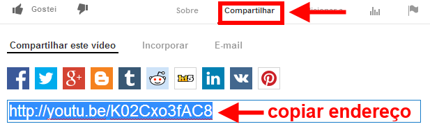 copiar endereço do vídeo no Youtube