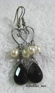 wire wrapped dangle earrings with pearl and teardrop smoky quartz