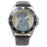 black labrador dog portrait realist art watches