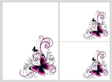 Pretty pink & black butterflies ~ blank invitation