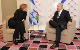 Netanyahu and Livni meet in Tel Aviv (Photo: Yaron Brener)