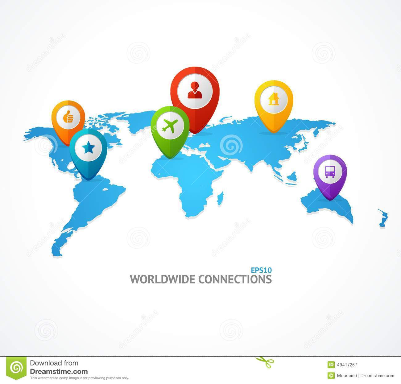 Vector World Map With Color Geo Location Pin Stock Vector