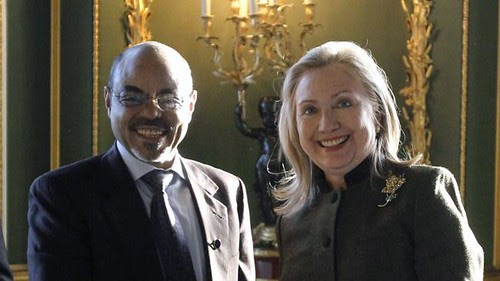 Ethiopian Prime Minister Meles Zenawi with US Secretary of State Hillary Clinton. With Meles reportedly critical ill in Belgium, which way is the Horn of Africa state headed? by Pan-African News Wire File Photos
