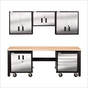 Stainless Steel Garage Storage | Geneva Steel Cabinets Kit