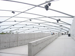 Loudspeaker trellis and ramp to the Great Lawn