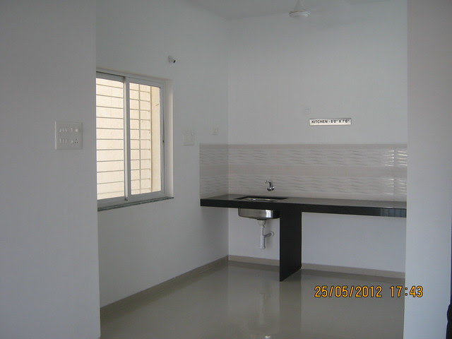 Kitchen in the sample flat - Visit Gagan Akanksha, 1 BHK 1.5 BHK & 2 BHK Flats near  Prayagdham, at Koregaon Mul, Uruli Kanchan, off Pune Solapur Highway, Pune 412202