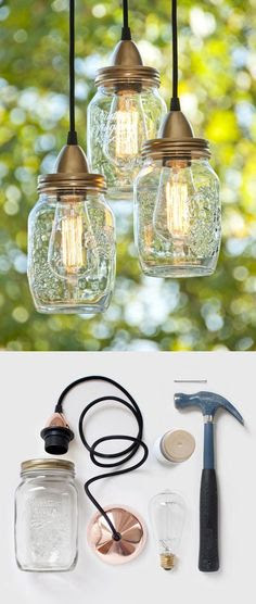 LOVE LOVE LOVE  DIY mason jar lamps