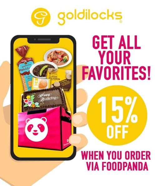 Goldilocks enjoy 15% off when you order via the Foodpanda app