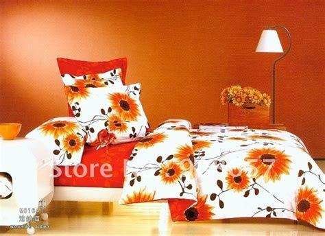Brushed Fabric 4pc Queen bedding sets orange red sunflower
