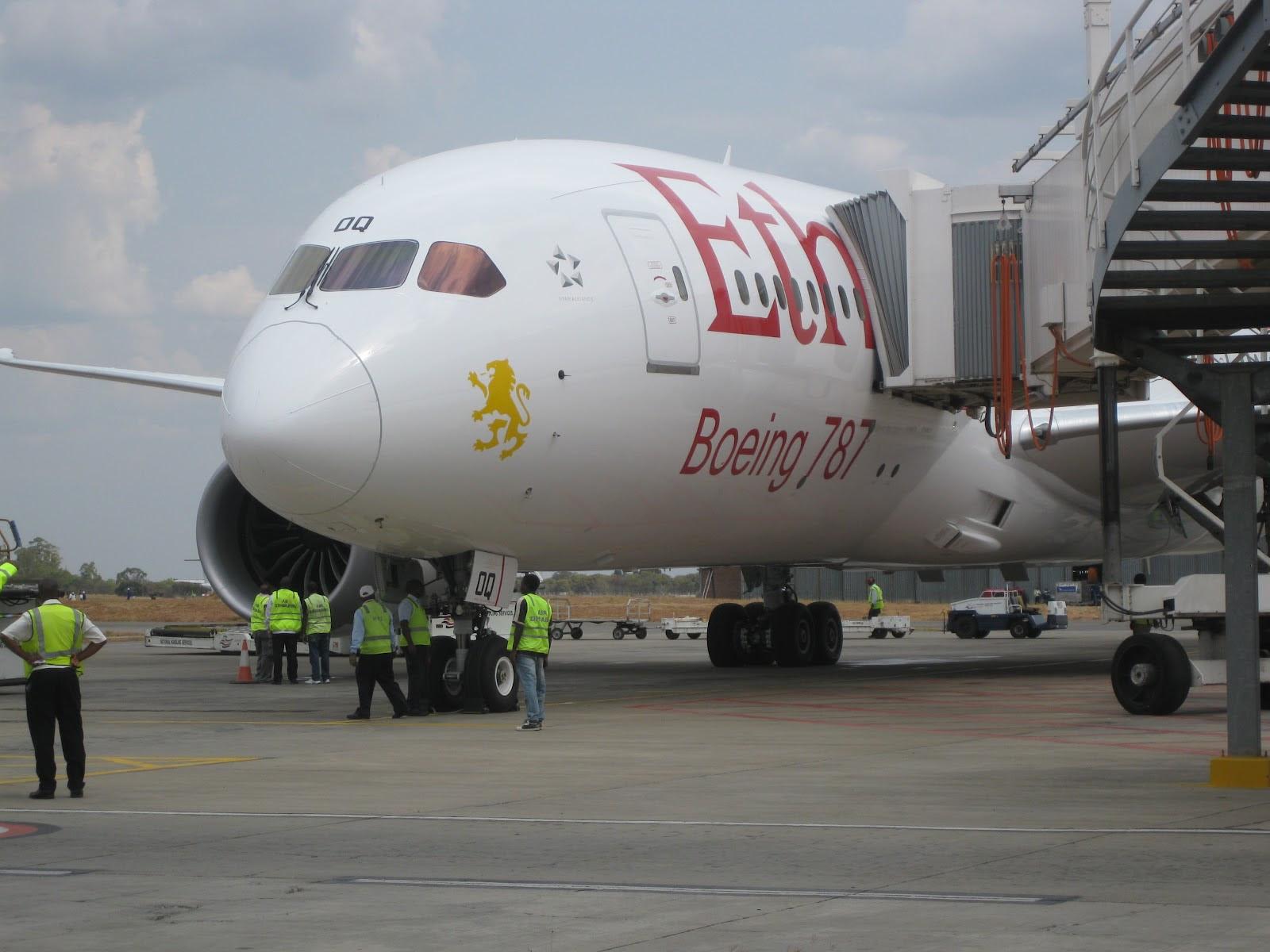 Ethiopian Airlines Dreamliner in Harare, Zimbabwe