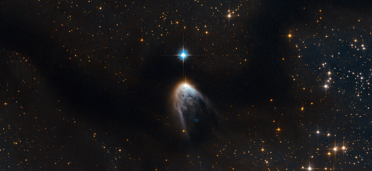Violent birth announcement from an infant star