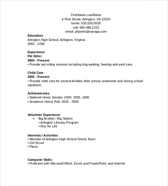 Word Resume Templates  7 + Samples, Examples , Format  Sample Templates