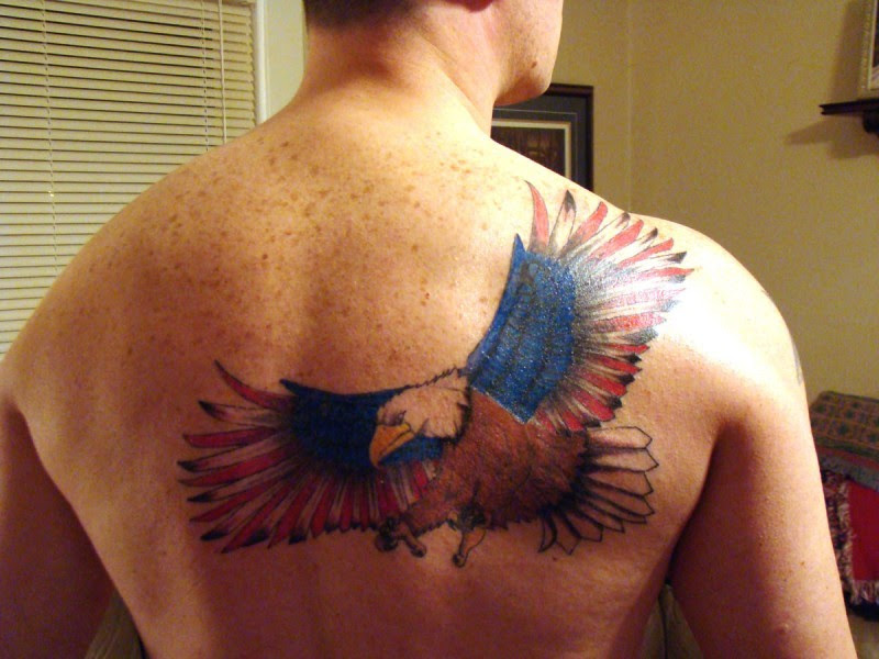 Eagle With Usa Flag Wings Tattoo On Back Tattoos Book 65000