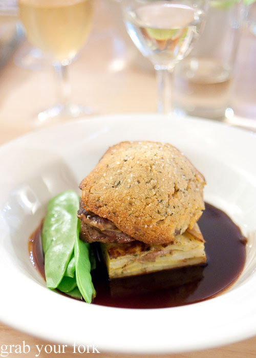 Roast lamb rump with blue cheese and parmesan crust at Bella Cafe, Kingscote, Kangaroo Island