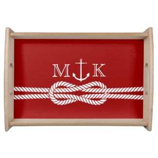 Nautical Rope and Anchor Monogram in Burgandy Food Trays