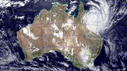 Image provided by Nasa shows Tropical Cyclone Yasi as it approaches Queensland, Australia