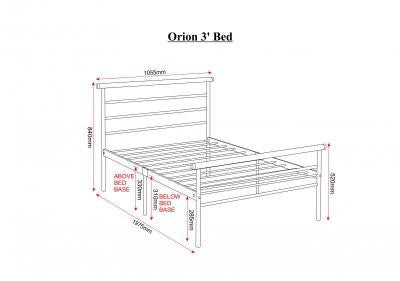 Orion Single4 Foot And Double Silver Metal Bed Frame The