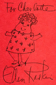 Ellen Raskin signature and sketch of Mrs. Carillon