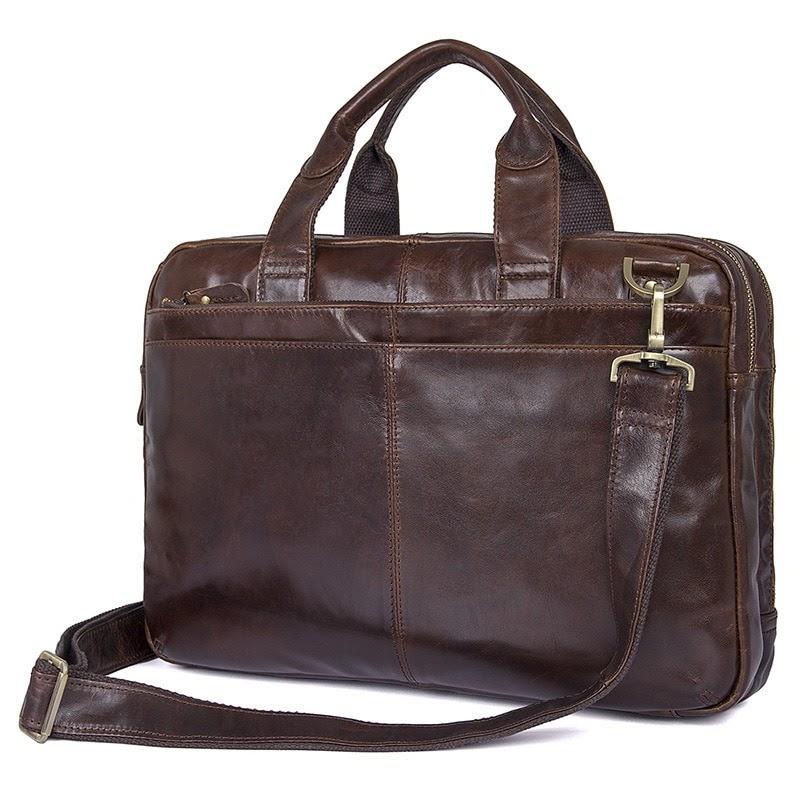 Discount 2019 Men Briefcase Messenger Bags Cowhide Business Briefcases Bag Genuine Leather Portfolio 14'' Laptop Business Mens Office Bag