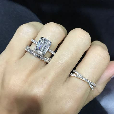 Emerald Cut Pave Band Engagement Ring   Ring Concierge