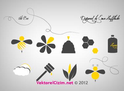 Vektörel çizim Arı Bal Petek çiçek