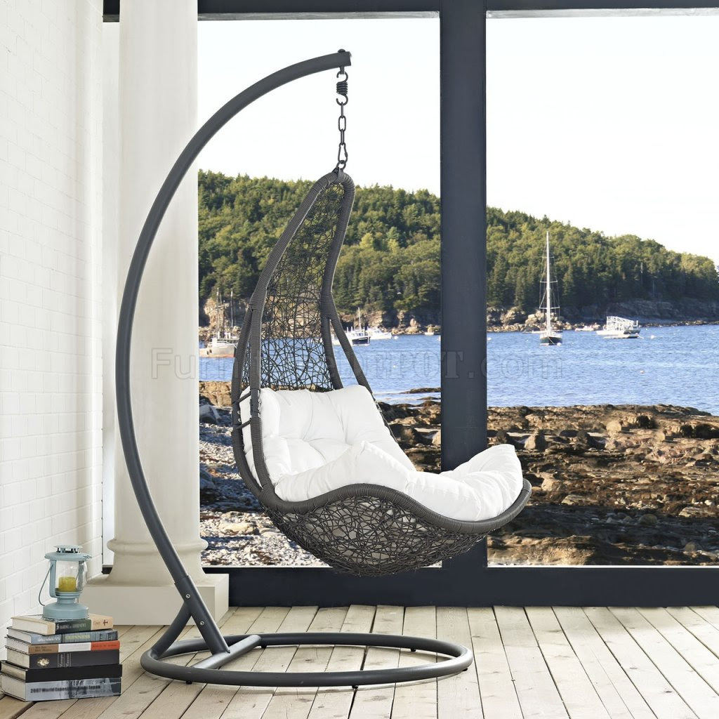 Abate Outdoor Patio Swing Chair in Gray & White by Modway