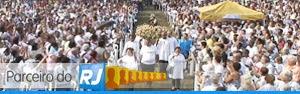 Parceiro do RJ acompanha romaria em Caxias (Reprodução/TV Globo)