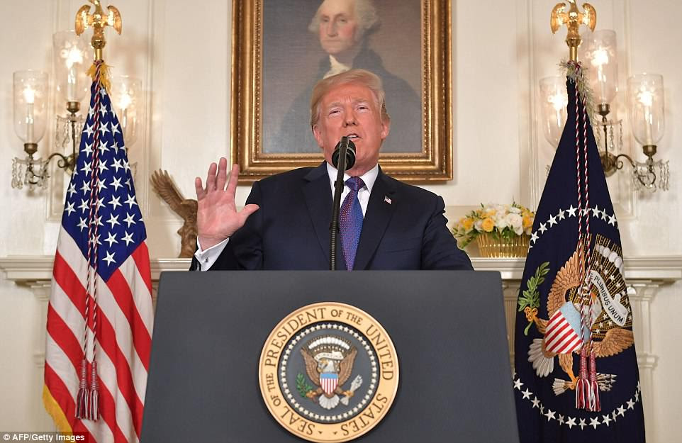 President Trump (pictured addressing the nation on the airstrikes on Friday) has vowed to carry out further airstrikes on Syria if the regime dares to use chemical weapons again, as Nikki Haley lashed out at Russia during a fiery meeting of the UN Security Council