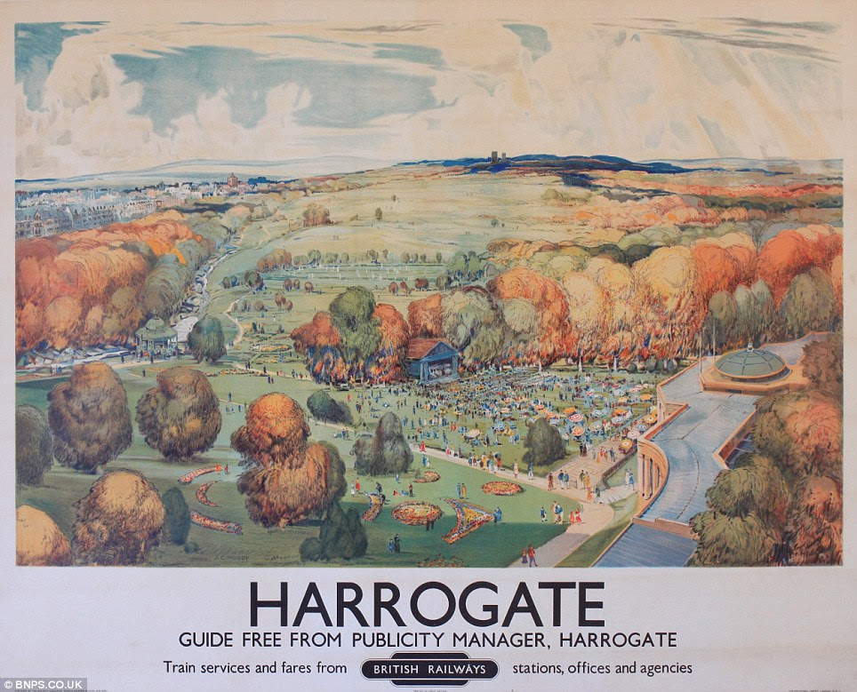 Hidden from view: It is believed the posters, including this one of Harrogate in Yorkshire, were never put on display because they are in such good condition