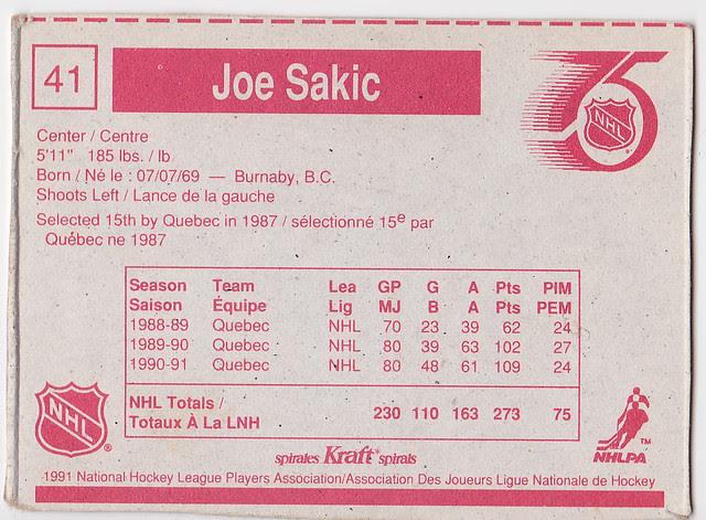 Kraft Dinner - Joe Sakic - Back