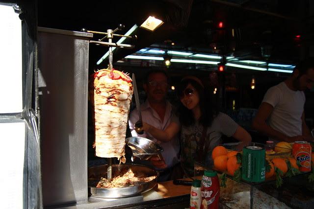 Having fun with kebab shop owner