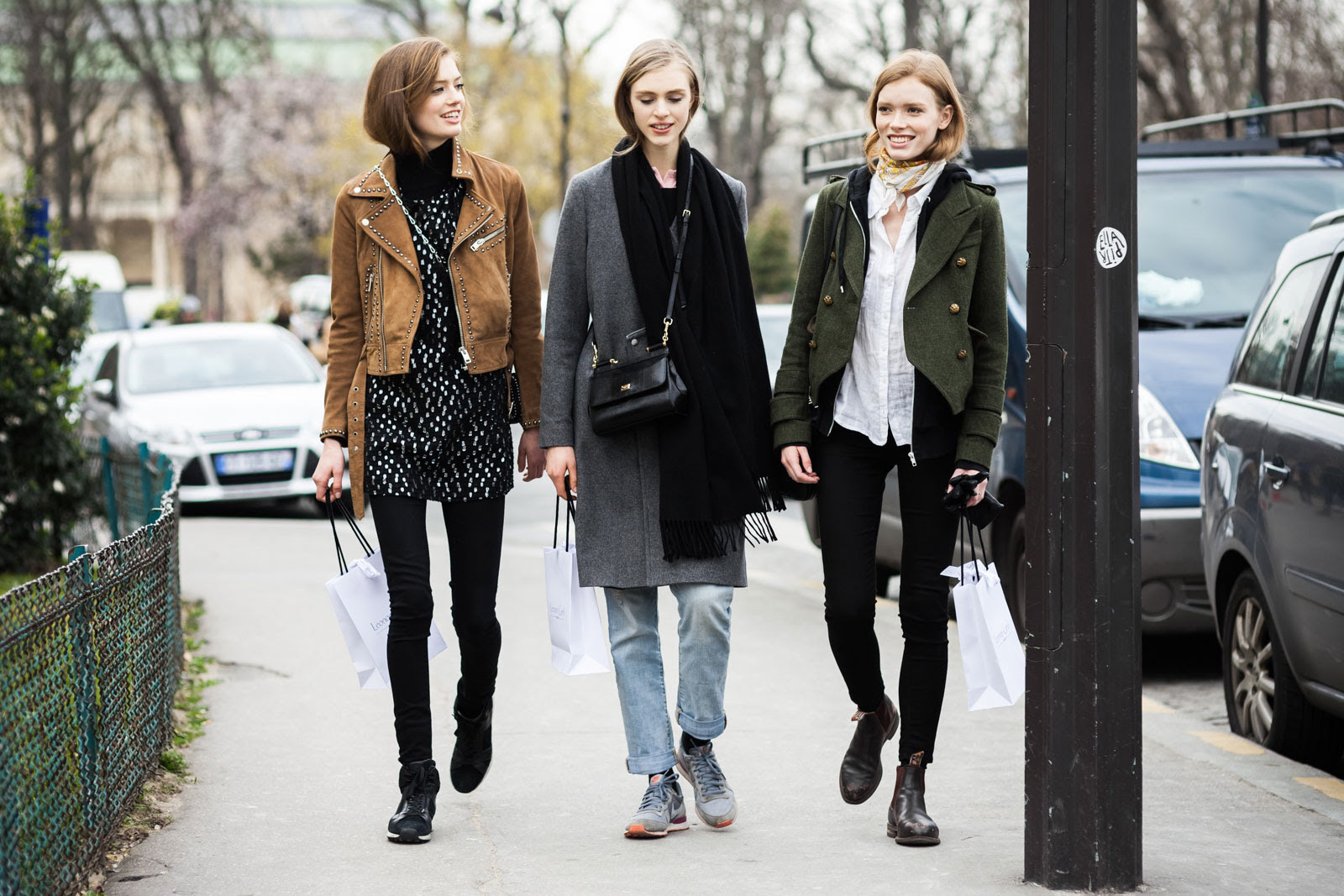 Models Emmy Rappe, Hedvig Palm and Julia Hafstrom after the Giambattista Valli Fall/Winter 2015-2016 fashion show in Paris, France