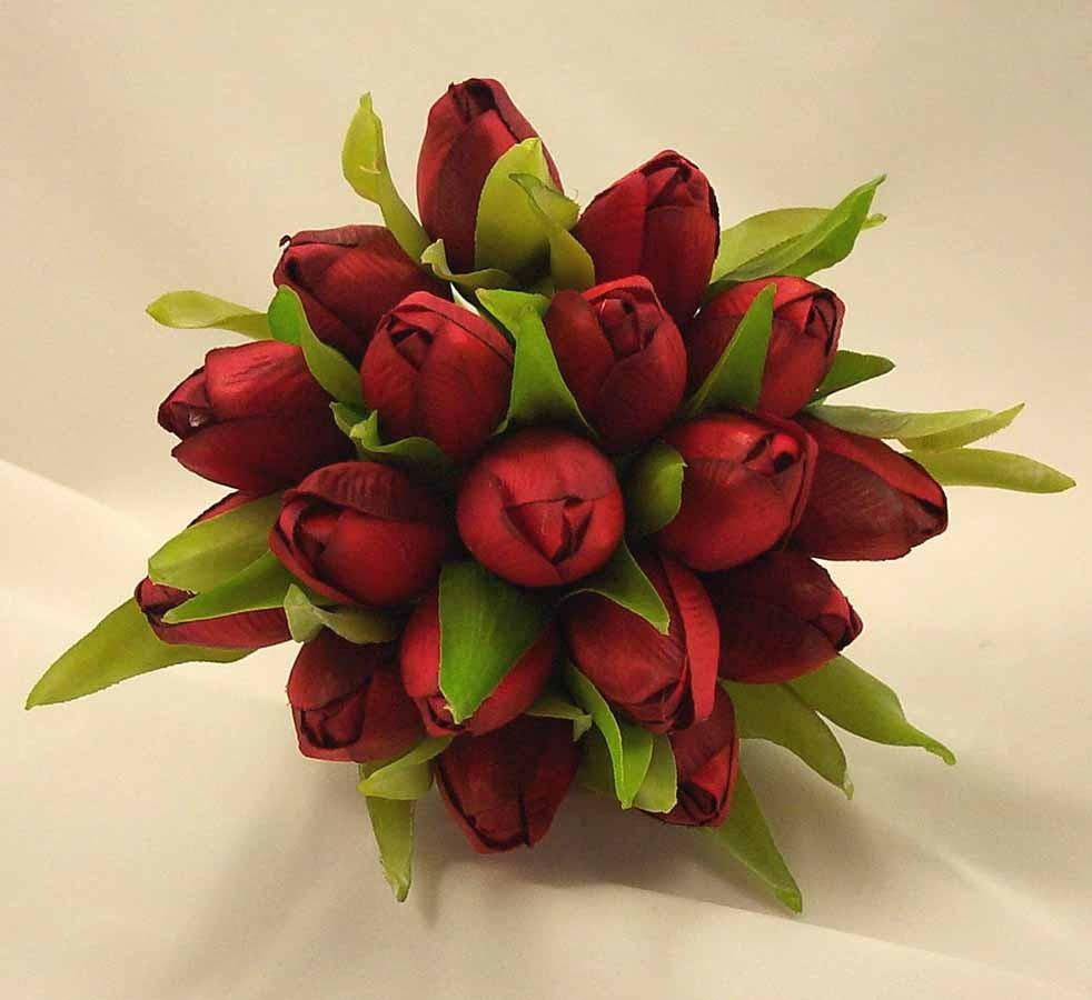 Red Tulip Bridesmaid\u002639;s Posy Bouquet  Wedding Bouquets  Silk \u0026 Artificial Wedding Flowers