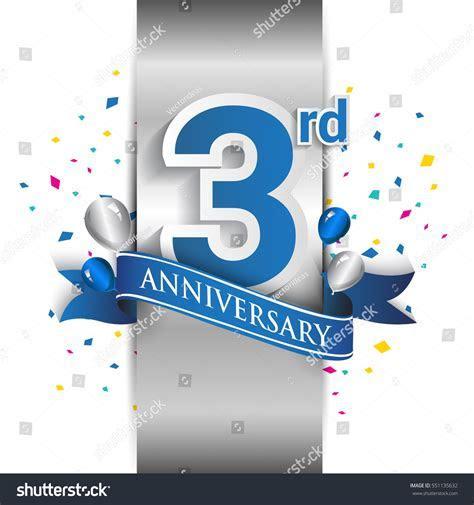 3rd Anniversary Logo Silver Label Blue Stock Vector