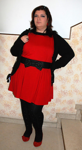Red and black studded outfit