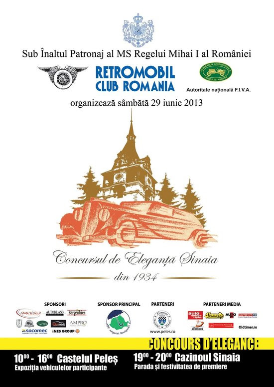 Retromobil Club Romania prezinta Concursul de Eleganta Sinaia, pe 29 iunie