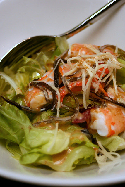 Shrimp salad with wood ear mushrooms,  cucumber and ginger - sesame dressing