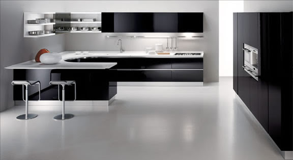 Kitchen Design Black black with white kitchen floor | home decorating ideas 2016/2017