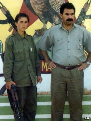 Sakine Cansiz (L) with Abdullah Ocalan, the PKK leader in 1995.